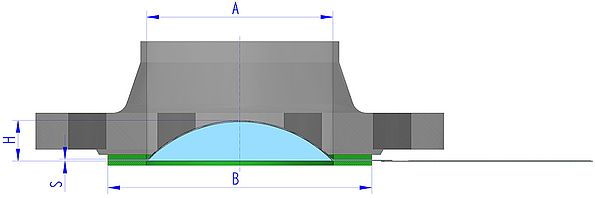 technical drawing rupture disc / bursting disc CBS