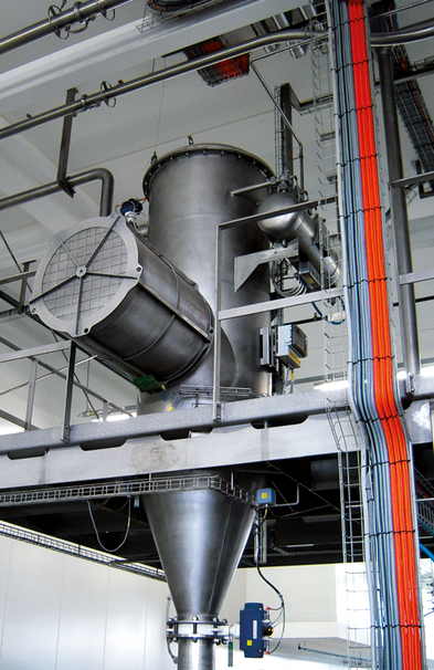 Flameless venting Q-Rohr on a product plate separator for silo, food industry