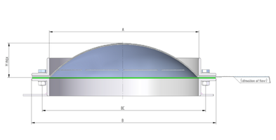 Technical drawing rupture disc / bursting disc ODV